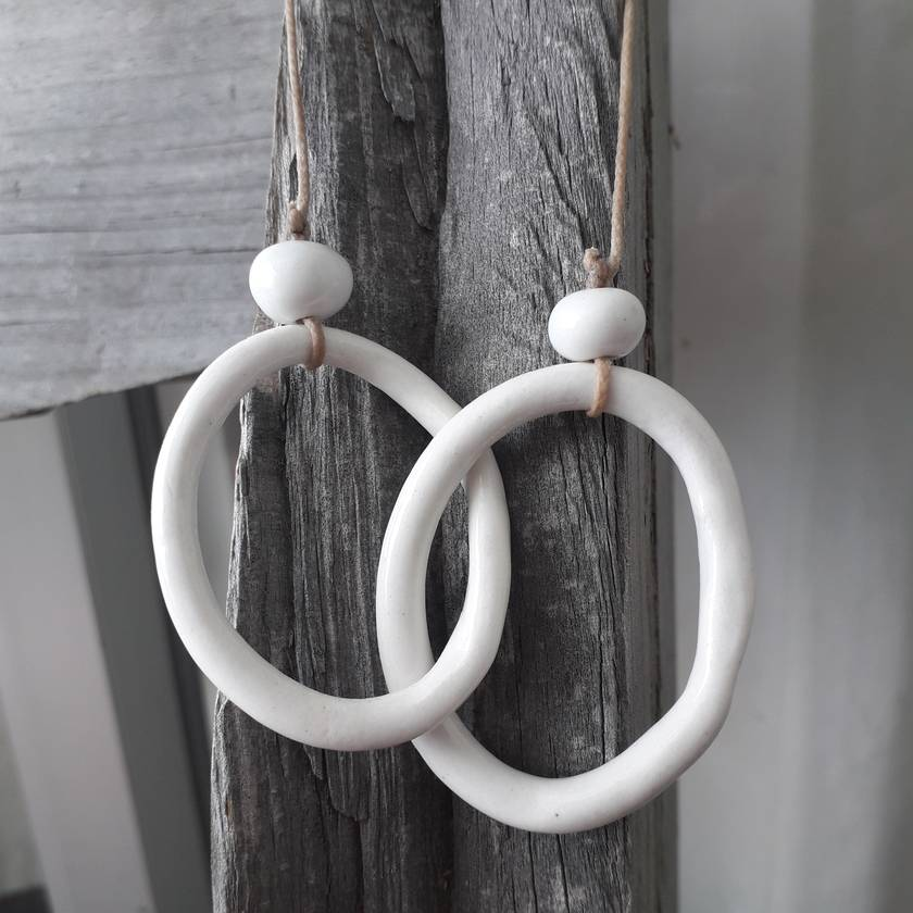 Linked Ceramic Ring Necklace