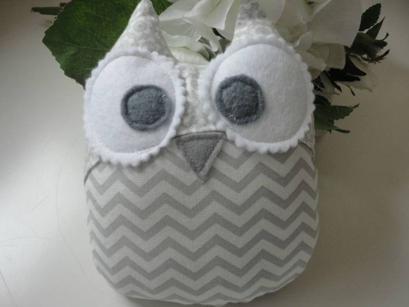 Grey Chevron Baby Owl Rattle