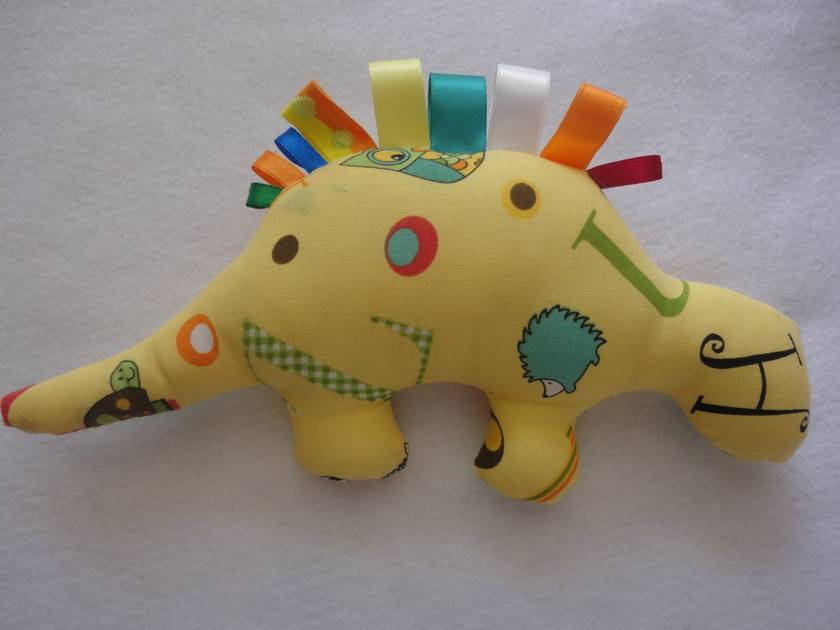 SALE Baby Dino Rattle in Yellow