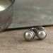 White Pearl Studs in Sterling Silver Settings