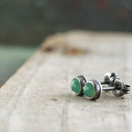 Chrysoprase and Sterling Silver Studs