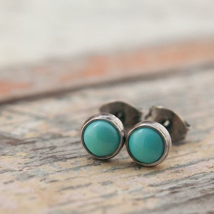 December Birthstone - Turquoise and Sterling Silver studs