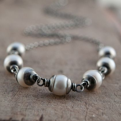 Pearl and Sterling Silver - Rosary Link Necklace