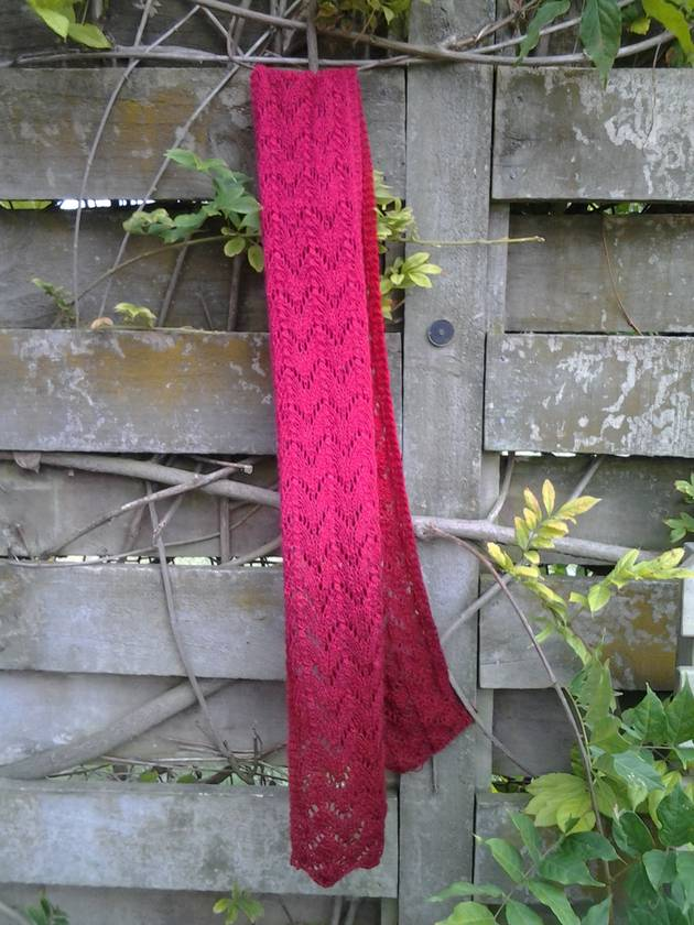 Cherry Bomb ombre womens scarf - hand knitted from 100% pure wool, burgundy, cherry and vibrant pink