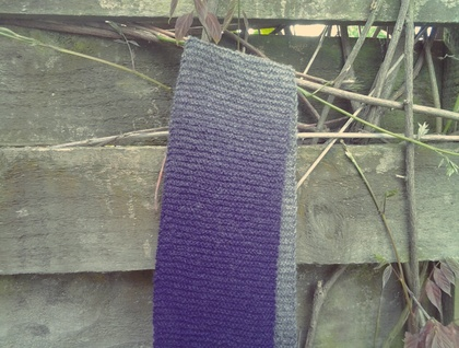 Love Story ombre scarf - long purple, grey and black scarf, hand knitted from 100% pure wool