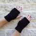 Log Cabin black fingerless mitts – knitted from pure wool