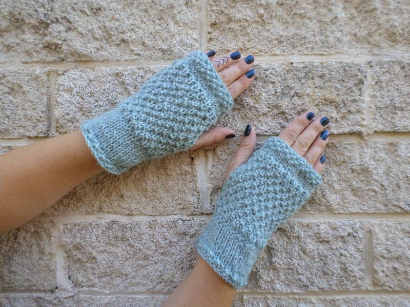Log Cabin duck egg blue fingerless mitts – knitted from light pastel blue green wool