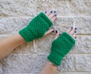 Log Cabin bright green fingerless mitts – knitted from emerald green wool