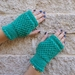 Log Cabin womens fingerless mitts – bright turquoise wool