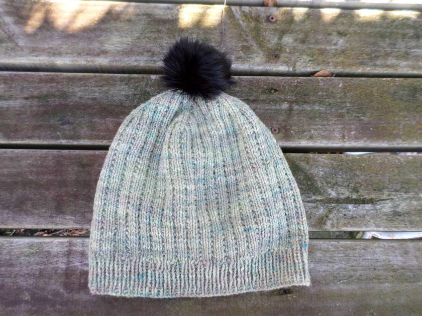 Hudson muted green slouch beanie - luxury merino wool hat with upcycled fur pompom