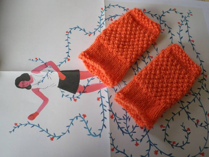 Log Cabin neon orange fingerless mitts – knitted from pure NZ wool