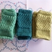 Log Cabin avocado green fingerless mitts – knitted from pure NZ wool
