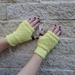 Log Cabin neon yellow fingerless mitts – knitted from pure NZ wool
