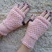 Log Cabin rose quartz fingerless mitts – knitted from 100% pure wool