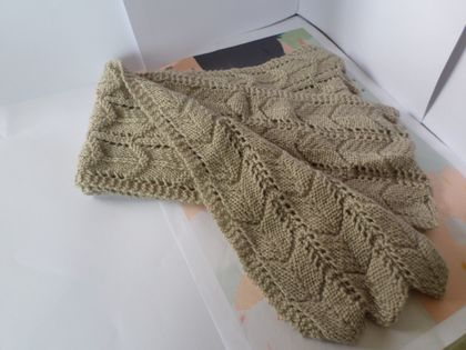 Long unisex scarf   latte cream textured scarf hand knitted from pure New Zea...