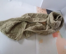 Long unisex scarf – latte cream textured scarf hand knitted from pure New Zealand wool