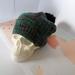 Hudson dark green beanie - luxury merino wool hat with upcycled fur pompom