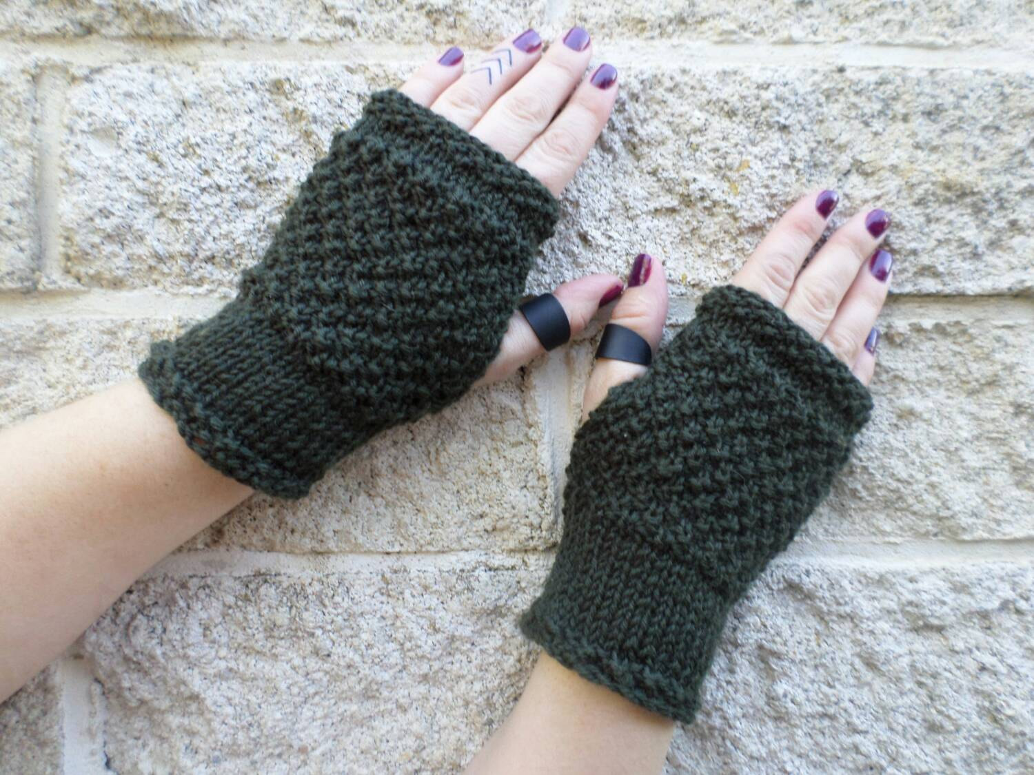 Fingerless Gloves Knitting Pattern Nz : Sgt Pepper dark khaki green fingerless mitts   knitted ...