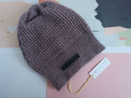 Helsinki luxury purple beanie - merino, alpaca and possum slouch hat with leather detail