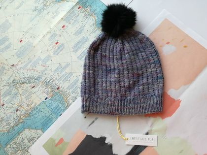 Hudson serenity purple beanie - luxury merino wool hat with upcycled fur pompom