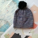 Hudson serenity purple beanie - luxury merino wool hat with upcycled fur pompom
