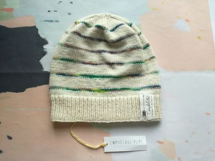 Stockholm striped beanie - luxury merino wool hat with multicoloured green stripes