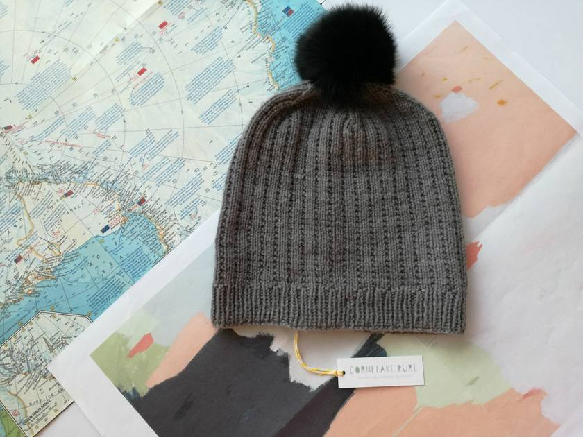 Hudson grey beanie - luxury merino wool hat with upcycled fur pompom ... a4093d5df20