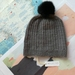 Hudson grey beanie - luxury merino wool hat with upcycled fur pompom