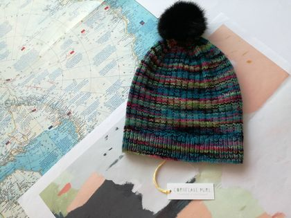 Hudson aqua blue multicoloured beanie - luxury merino wool hat with upcycled fur pompom