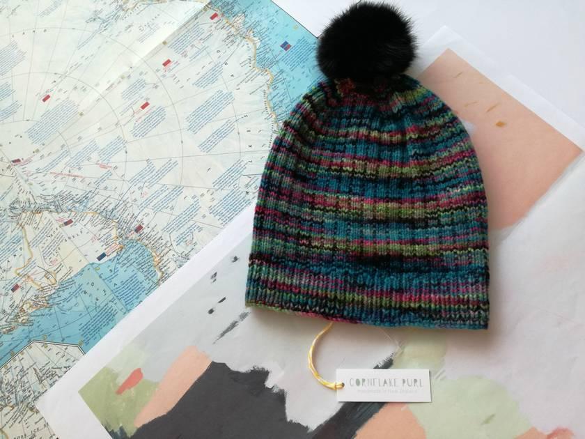 Hudson aqua blue multicoloured beanie - luxury merino wool hat with faux fur pompom