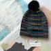Hudson aqua blue multicoloured beanie - luxury merino wool hat with upcycled fur pompom