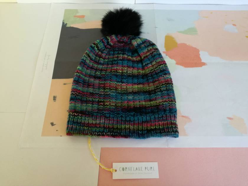 Hudson aqua blue multicoloured beanie - luxury merino wool hat with faux fur pompom