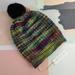 Hudson purple yellow aqua beanie - luxury merino wool hat with upcycled fur pompom