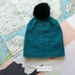Hudson aqua blue unisex knitted beanie - luxury merino wool hat with faux fur pompom