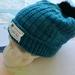 Hudson aqua blue unisex knitted beanie - luxury merino wool hat with upcycled fur pompom