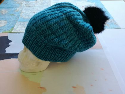 Hudson aqua blue unisex knitted beanie - luxury merino wool hat with upcycled fur pompom