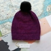 Hudson dark purple beanie - luxury merino wool hat with upcycled fur pompom