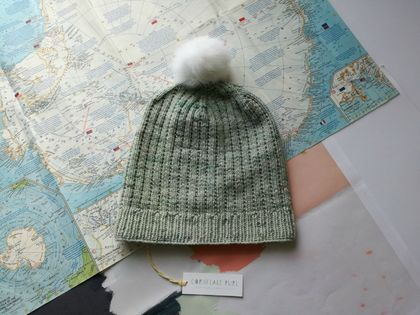 Hudson light green slouch beanie - luxury merino wool hat with upcycled fur pompom