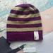 Brooklyn purple green striped beanie - luxury winter hat with hand dyed merino stripes