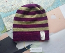 Brooklyn purple green striped beanie - luxury winter hat with hand dyed merino stripes