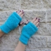 Log Cabin womens fingerless mitts – bright aqua blue wool