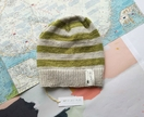 Brooklyn grey green striped beanie - luxury winter hat with hand dyed merino stripes