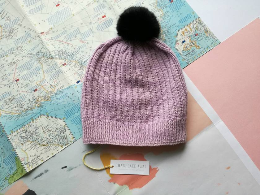 18a6856fb99 Hudson luxury lavender beanie - luxury merino wool hat with upcycled fur  pompom