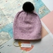Hudson luxury lavender beanie - luxury merino wool hat with upcycled fur pompom