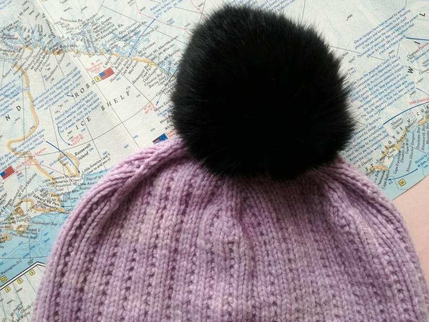 Hudson luxury lavender beanie - luxury merino wool hat with upcycled fur pompom