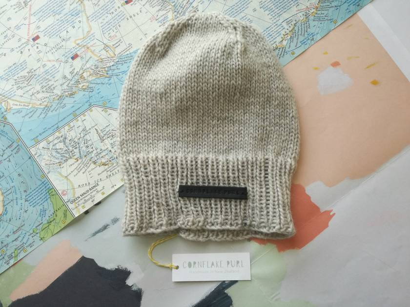 Baker Boy unisex beanie - hand knitted light grey slouch beanie, pure NZ merino