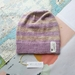 Brooklyn lavender camel striped beanie - luxury winter hat with hand dyed merino stripes