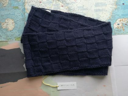 Bushido blackberry blue infinity scarf - knitted from pure NZ wool