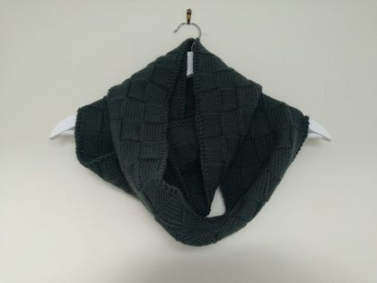 Bushido dark khaki green infinity scarf - knitted from pure NZ wool