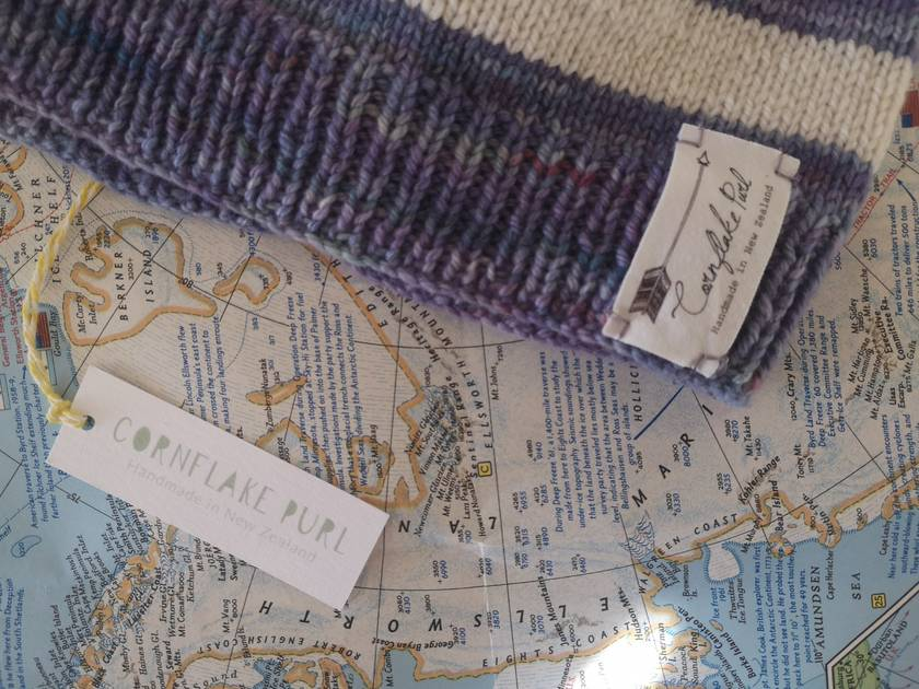 Brooklyn lilac striped beanie - luxury winter hat with hand dyed merino stripes